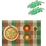 Bamboo Table Mats/Place Mats/Dinning Mats/Kitchen Place Mats/Dinner Mats, 30x40cm, 6 Piece Set(BM1X6456 B4-Green)