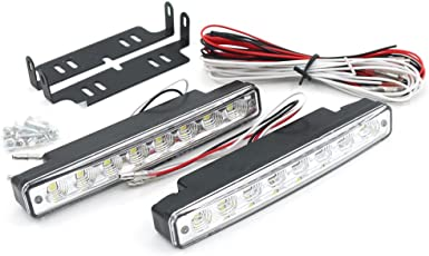 Motopart 8 LED DC 12V Daytime Running Light Fixed Iron Plate Screw DRL For Set of 2 For Maruti Suzuki Swift DZire [2011-2015]