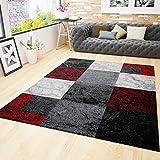 Wohnzimmer Teppich Modern Schwarz Rot Grau Marmor Stein Optik Velours 160x230 cm