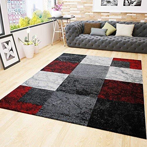 Vimoda tappeto per salotto, moderno, nero, rosso, grigio, effetto marmo, effetto velluto, 160 x 230 cm