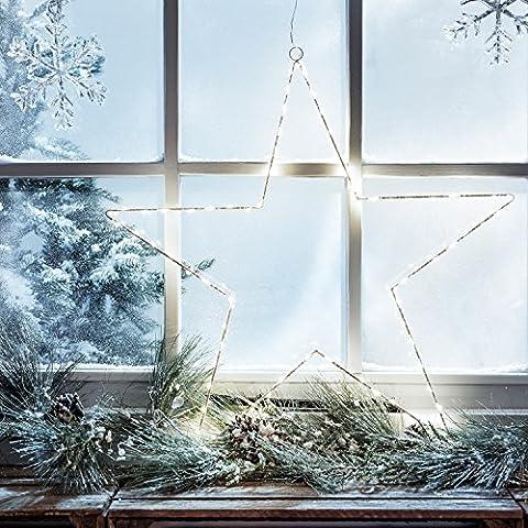 LED Stern Fensterbild Weihnachten Fensterdeko Zeitschaltuhr Batteriebetrieb 59cm Lights4fun