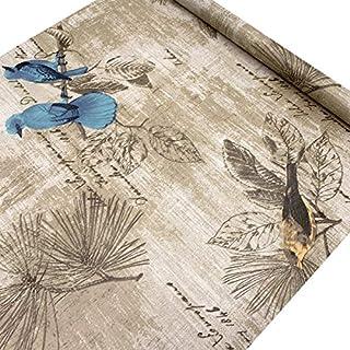 LoveFaye Blue Birds Contact Paper Handwriting Pattern Self-Adhesive Shelf Liner Locker Sticker 17.7 Inch By 9.8 Feet
