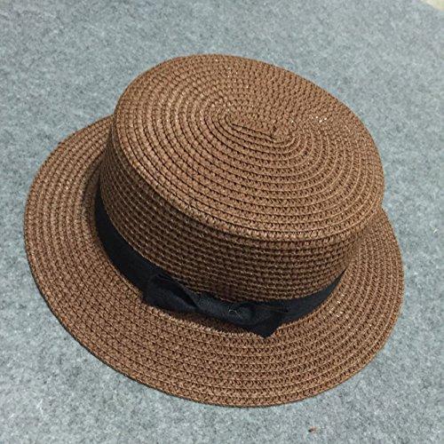 zhangyongcap-children-summer-bow-tie-straw-hat-tide-parent-child-small-cap-dome-visor-beach-caps-fla