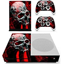 Morbuy Xbox One S Skin Vinly Pegatinas Protective Consola Sticker Decal + 2 Controlador Skins Set (Skull Red)