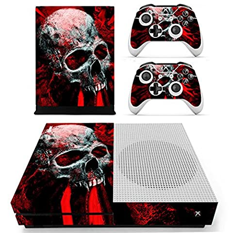 Morbuy Xbox One S Skin Console Vinyle Autocollant Decal Sticker and 2 Manette Skins (Skull Red)