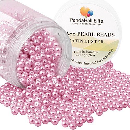 PandaHall Elite 4mm environ 1000Pcs Lustre Satine Perle en verre Rond Beads Perles Assortiment Lot ,Pr creation de bijoux Beige blanc Cameo Rose
