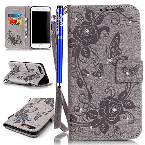 EUWLY Handy Schutzhülle für iPhone 8 Plus/iPhone 7 Plus 5.5 Handyhülle Rose Blumen Schmetterling Leder Hülle Brieftasche Ledertasche Klappbar Handy Tasche Leder Flipcase mit Kartenfächer,Grau