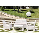 Keter M292508 - Conjunto ratan resina tarifa lounge set blanco