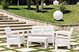 Keter - Conjunto de jardin de 4 plazas Tarifa Lounge con cojines incluidos. Color blanco
