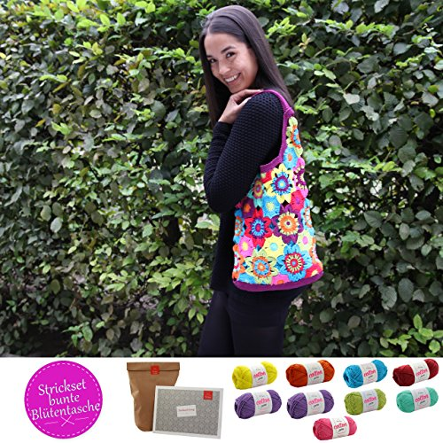 Tasche selber häkeln und stricken! Häkelset Sommertasche mit Baumwolle und Häkelanleitung INKL. NADELN - Strickset mit Anleitung und Wolle - Häkelpackung zum Tasche selbst häkeln von MyOma
