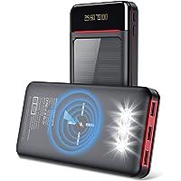 Aikove Wireless Powerbank 26800mAh Solar Externe Handy Akku mit (USB C&Micro) Zwei 2,4A Eingänge und DREI 2,4A Ausgänge…