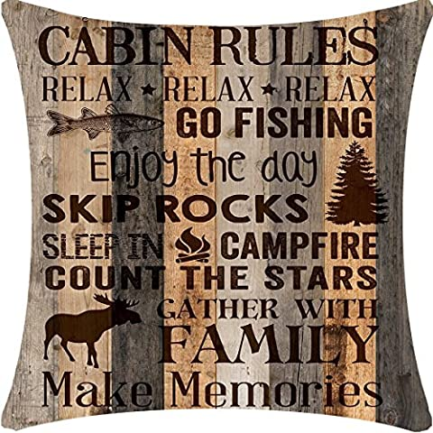 Retro Vintage Wood Grain Background Wildlife Cabin Rules Relax Enjoy The Day Holiday Moose Pine Tree Cotton Linen Throw Pillowcase Personalized Cushion Cover NEW Home Decorative Square 18 X 18