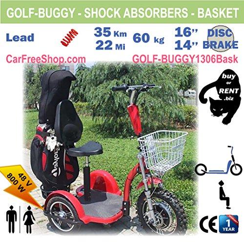 carfreeshop golf-buggy1306Elektro Scooter mit 3Rädern, stabil, golf-trolley, Korb, großen Auswahl (36löcher), sitzen, Schutzblech, mühelos, Diebstahlschutz, All-Terrain-/Country.