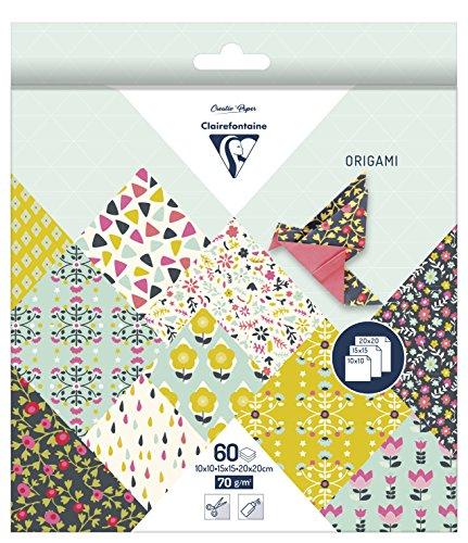 60 Blatt Origami Papier Blume, 3 Größen / Bastelpapier 10, 15 und 20 cm Flower