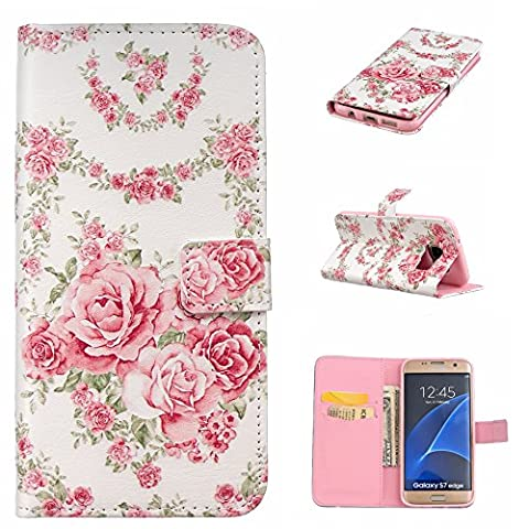 CaseHome Samsung Galaxy S7 Wallet Case [With Free Screen Protector],Unique Colorful Embossed Pattern Design Folio Flip Magnetic Closure Stand Feature with Card Slots and Cash Holder Soft Durable Rubber Bumper PU Leather Protective Wallet Cover Skin Shell For Apple Samsung Galaxy S7-Pink Rose