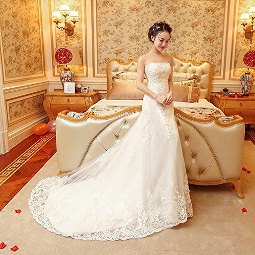 L Y Tube Top Brautkleid Braut Hochzeit Kleiner Schwanz Schlank Dünnes Hochzeitskleid,Ein,XS