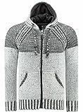 J'S FASHION Herren Strick-Jacke mit Kapuze - Grobstrick - Slim-Fit - Melange Hoodie Hochwertiger Pullover 11 White XL (Herstellergröße 2XL)