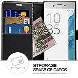 Sony Xperia XZ / XZs Hülle, Profer [Premium Leder Serie] Schutzhülle PU Leder Flip Tasche Case mit Integrierten Kartensteckplätzen und Ständer für Sony Xperia XZ / XZs (Leder-Schwarz) -