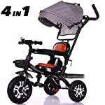 SSLC Tricycle For Kids,Baby Tricycle Folding Stroller Kids Trike Detachable Canopy Pushing Handle Learning Bike Maximum...