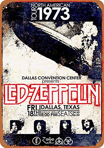 mengliangpu8190 Tin Sign 7 x 10 Metal Sign 1973 Led Zeppelin in Dallas Vintage Look Wall Sign Decorative Sign Retro Sign Aluminum Sign