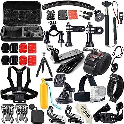 Candora ™ GoPro Accessori 43+ 321Set Kit monopiede telescopico per GoPro Hero e SupTig Motion DV Sport fotocamera in Paracadutismo Nuoto Canottaggio Surf Sci Arrampicata Corsa, equitazione,