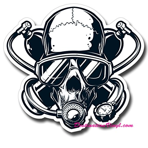 2-x-glossy-vinyl-stickers-scuba-diver-skull-twinset-cool-laptop-decal-0113