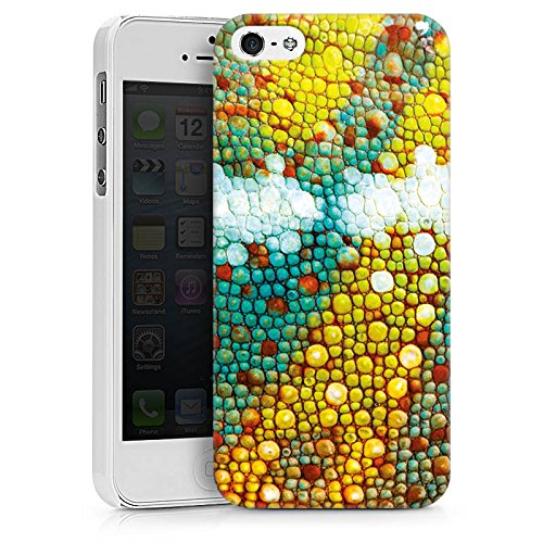 Apple iPhone X Silikon Hülle Case Schutzhülle Chamäleon Muster Chamäleonhaut Look Hard Case weiß