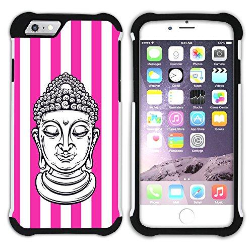Graphic4You Buddha-Kopf Streifenmuster (Wasserblau) Hart + Weiche Kratzfeste Hülle Case Schale Tasche Schutzhülle für Apple iPhone 6 Plus / 6S Plus Fuchsie