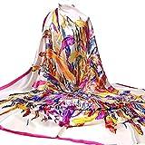 HLHN Damen Lang Schal Moslemischer Hijab Arabischer Wrap Schal Headwear Seide Satin Square140 X140CM (Beige A)