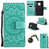 Hülle Galaxy S9 Hülle,PU Leder Flip Hülle für Samsung Galaxy S9 Tasche Case Cover Schutzhülle Handyhülle (Grün)