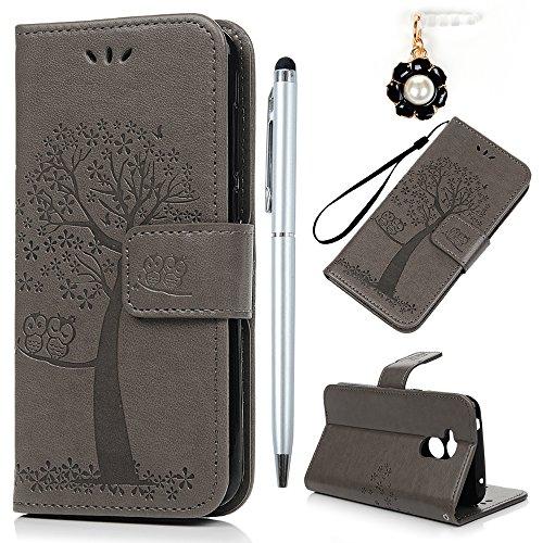 YOKIRIN Huawei Honor 6A Lederhülle Hülle Case für Huawei Honor 6A Flipcase Tasche Handyhülle Etui Eule Baum Muster PU Leder Schutzhülle Kartenfächer Magnetverschluss Cover Handyhalter Grau