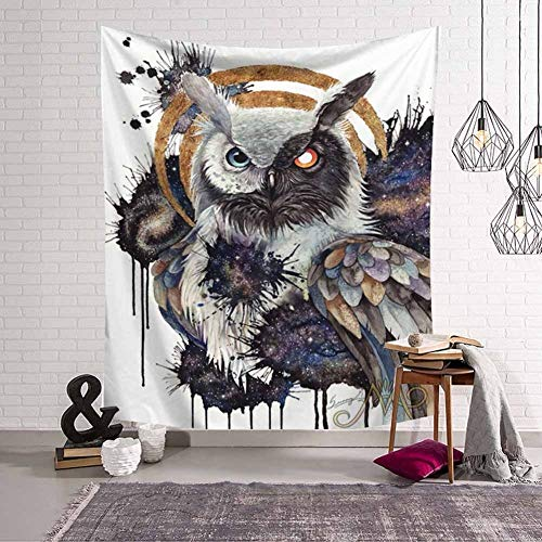 HCYHU Wolf Warrior by Tapestry Wall Hanging Native American 3D Animals Printed Sheets Owle Indian Home Decor Beach Mat 150cm*150cm (Indian Home Decor)
