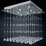 Kristall Deckenleuchte Kronleuchter LED Deckenlampe Wohnzimmer Lüster Hängelampe mit Kristallen Modern Pendelleuchte Größenwahl (60 x 50 x 60cm)