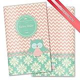 Mutter-Kind-Pass Hülle 3-teilig Eule augen zu Schutzhülle schöne Schwangerschaft Geschenkidee personalisierbar mit Namen (MuKi-Pass Österreich personalisiert, Eule augen zu)