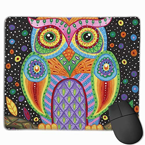 ASKSWF Mouse Pads for Computers,Colorful Owl Print Mouse Pad Non Slip Rubber Backing Gaming Mouse Pad Cute 25X30 cm