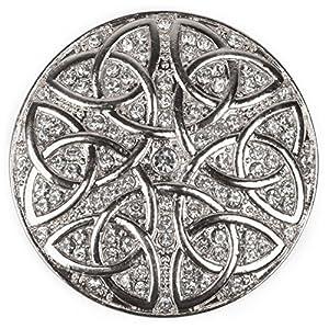 styleBREAKER runder Magnet Schmuck Anhänger Strass besetzt mit keltischem Knoten Ornament Muster für Schals, Tücher oder Ponchos, Brosche, Damen 05050038