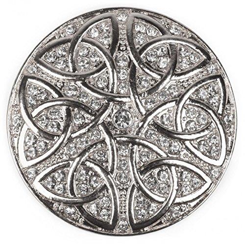 styleBREAKER runder Magnet Schmuck Anhänger Strass besetzt mit keltischem Knoten Ornament Muster für Schals, Tücher oder Ponchos, Brosche, Damen 05050038, Silber, Einheitsgröße