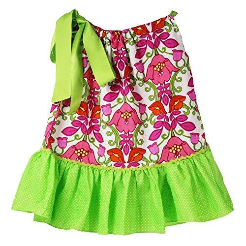 Little Girls Hot Pink Floral Pattern Lime Trim Pillowcase Summer Dress 1-7Y
