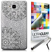 CASEiLIKE Arte de la mandala 2093 Bumper Prima Híbrido Duro Protección Case Cover Funda Cascara for Huawei Ascend Mate 7 +Protector de Pantalla +Plumas Stylus retráctil (Color al azar)