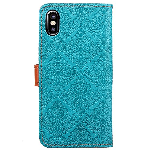 Protective Case Cover for iPhone X,iPhone X Coque PU Leather,iPhone X Neo Case,Hpory élégant Retro PU Cuir Cover Case Book Style Folio Flip Up Stand Fonction Support PU Leather Walllet Case with Credi 1#
