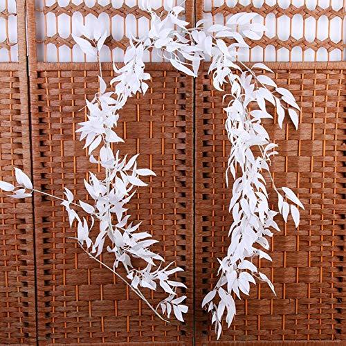 APOO 170cm künstliche Blumen Weide Rebe Hochzeit Decke Wicklung Rattan Hotel Fenster Home Party Dekoration Faux Laub Kranz, weiß -