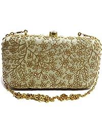 Arisha Kreation Co Beige Golden box Clutch Using Raw Silk (Beige)