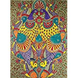 Ravgar Authentic Madhubani Art - Mithila Painting - Fish And Peacocks 12 By 16 Inch Rolled UnFramed Canvas Art Painting With White Accent Border