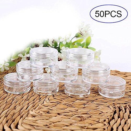 Selotrot 50 Stk. 3er Set/5g Kosmetik Leer Flasche Kreisformig Plastik Durchsichtig Probe Krüge Töpfe für Glitzer/Nail Art/Creme - 5g