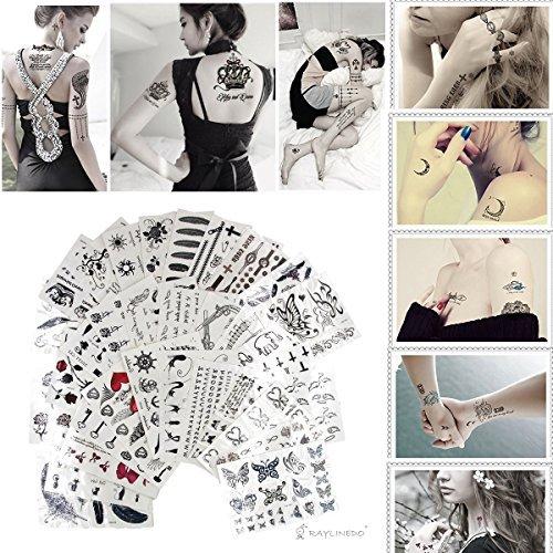 Set di 10 fogli con tatuaggi temporanei, trasferimento ad acqua, per make-up, modelli inviati in modo casuale