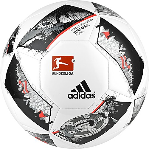 adidas DFL Glider Fußball, White/Black/Solar Red, 5 (Adidas 5 Fußball Größe)