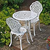 Lazy Susan Furniture - Ivy Bistro Set - Bistro Table with 2 matching Chairs - Cast aluminium garden set, White