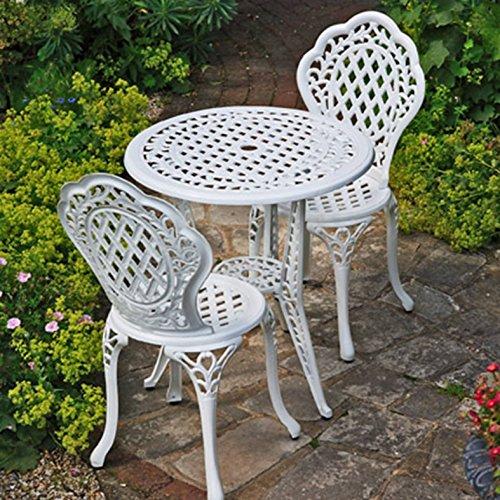 Lazy Susan Furniture - Ivy Bistro Set - Bistro Table with 2 matching Chairs - Cast aluminium garden set, White Antique Bronze Chair