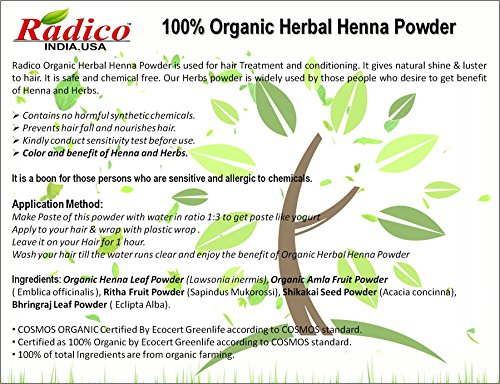 Buy Radico Organic Herbal Henna Powder Hair Color Set Of 2 On