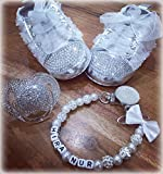 Luxus Geschenk Set mit Wunsch Namen, Strass Schnuller, Schuhe, Kette mit Namen, Geschenk Taufe, Geburt, Baby Set Hochzeit (0-6m)